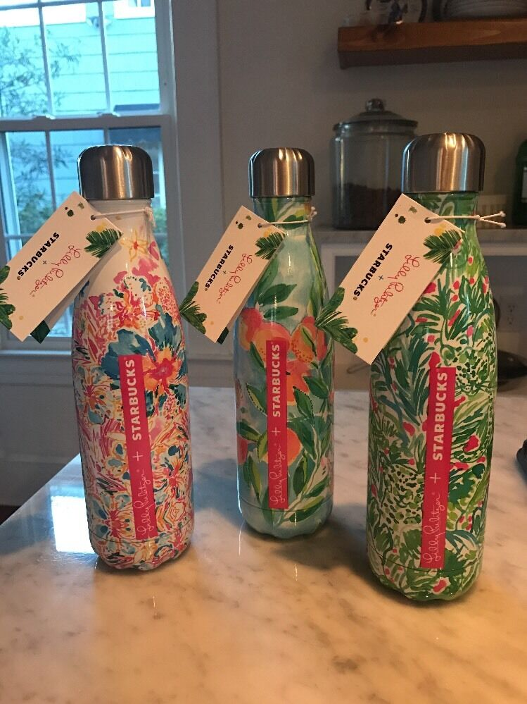 Nwt Starbucks Swell Lilly Pulitzer Metal Water Bottle New