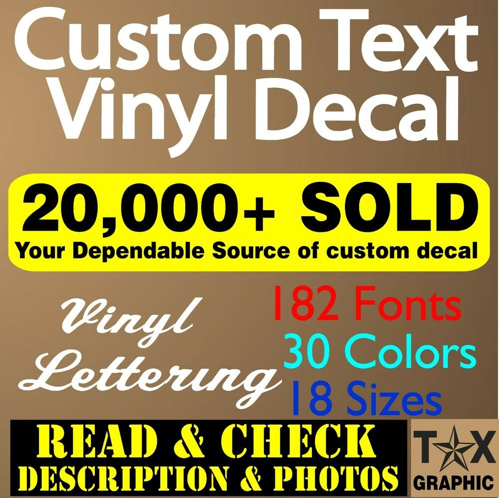 custom vinyl lettering decal personalized window text name. Black Bedroom Furniture Sets. Home Design Ideas
