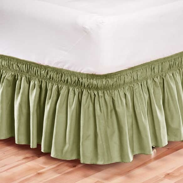 Elastic Bed Skirt Dust Ruffle Easy Fit Wrap Around Sage