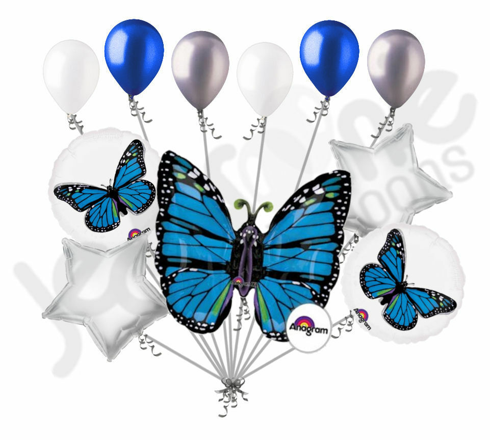 Happy 24 Hours Of Constant Facebook Notifications Day: 11 Pc Blue Monarch Butterfly Balloon Bouquet Party