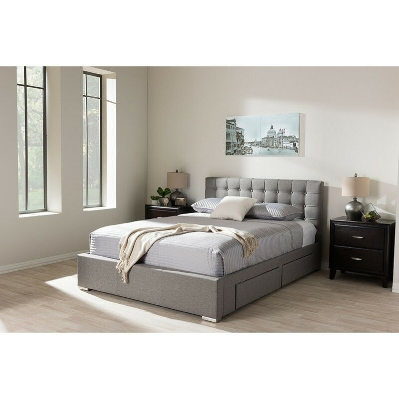 modern storage beds rene modern amp contemporary grey fabric 4 drawer size 12627