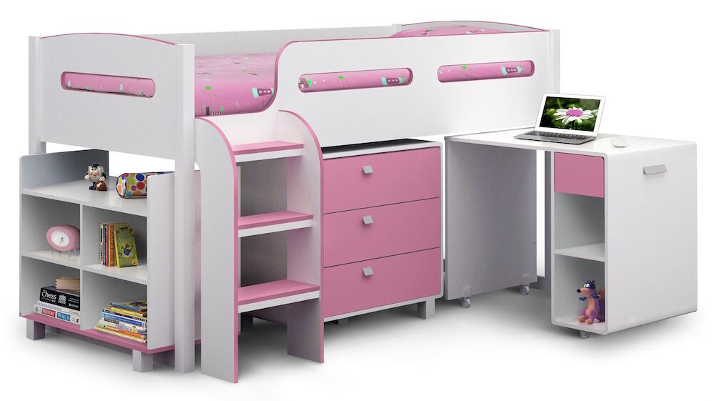 Minnie Mouse Bedroom 3 Drawer Storage Kids Wooden Box Pink: Blue Or Pink Cabin Bed With Desk, Shelves And Drawers 3ft