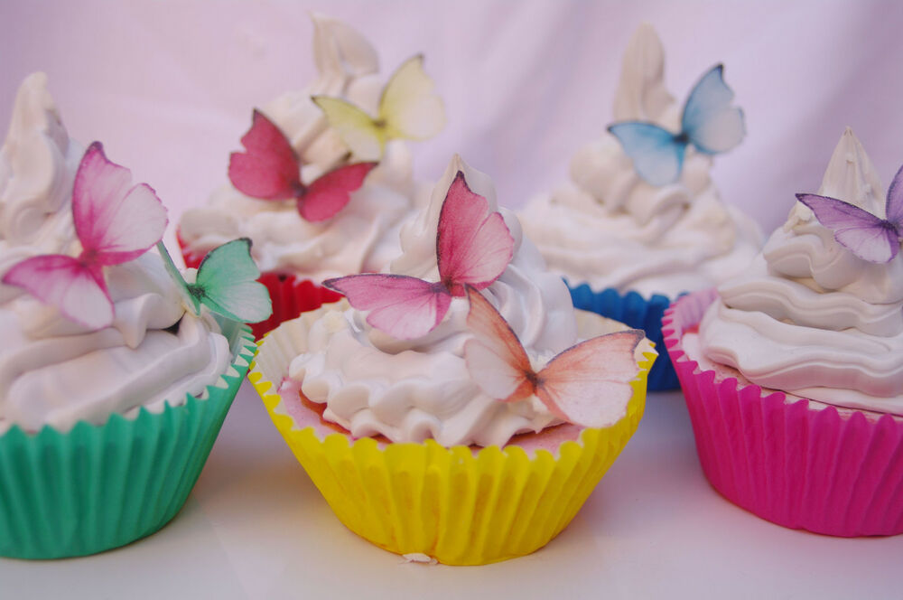 Cake Decorating Edible Paper : Edible Butterfly Cake Decoration Princess 30pc Rainbow ...