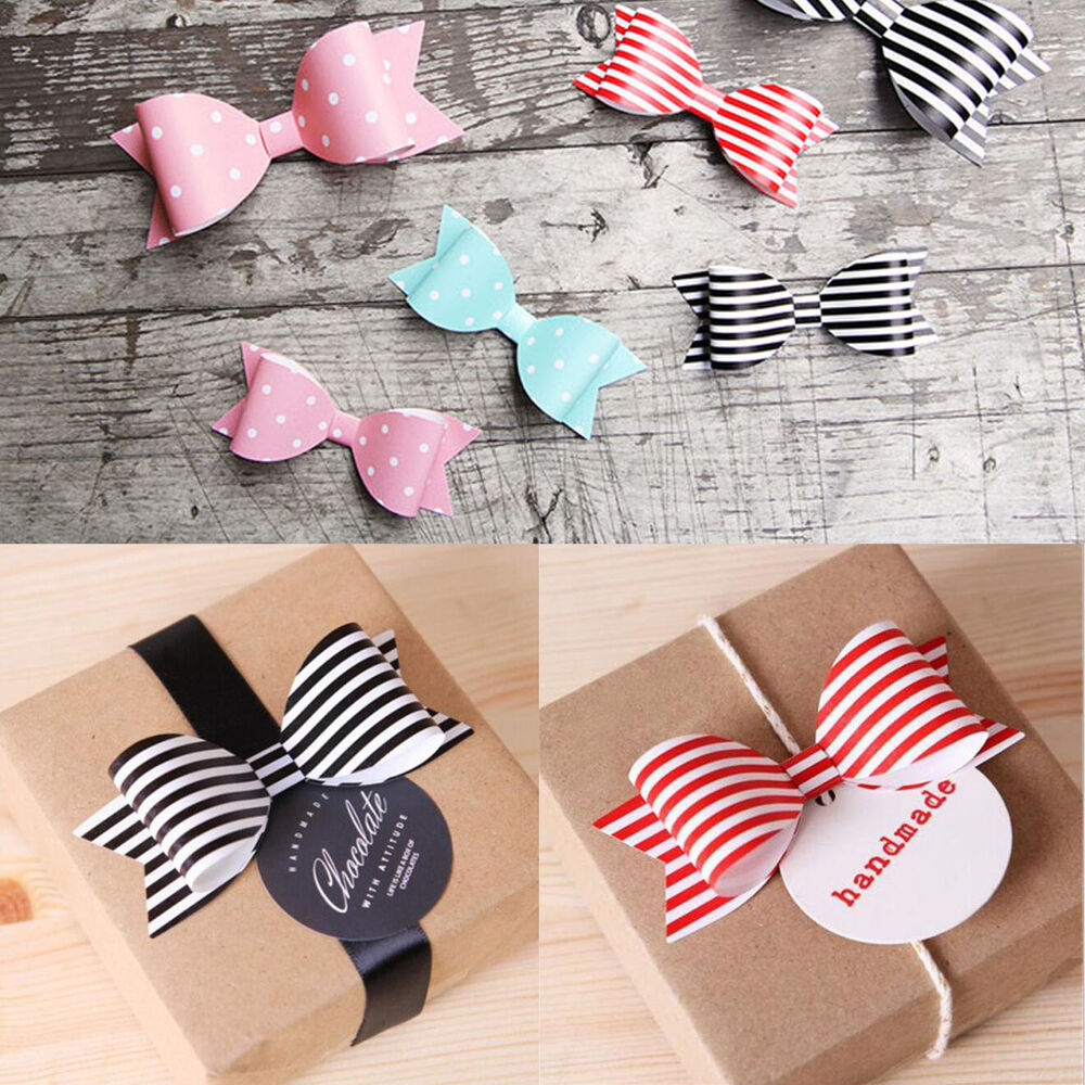 50PCS DIY Holiday Gift Wrap Paper Bows Party Wedding