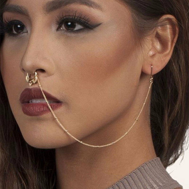 Wedding Nose Ring: Bridal Crystal Gold Ethnic Traditional Nose Chain Ring