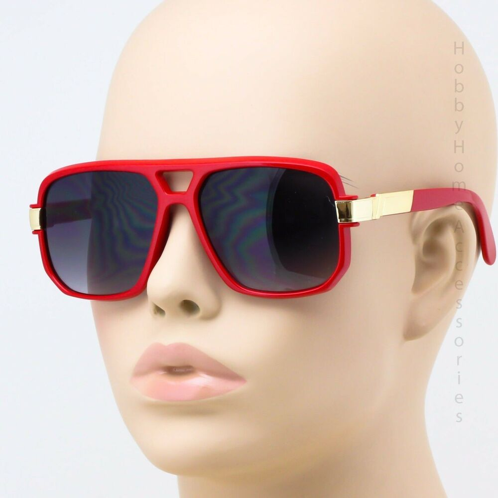6d94c2d1f71 Details about OVERSIZED CLASSIC RETRO 80s VINTAGE Style AVIATOR SUN GLASSES  Red   Gold Frame