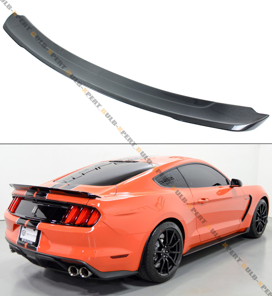 for 2015 17 ford mustang gt350 track pack style carbon fiber trunk spoiler wing ebay. Black Bedroom Furniture Sets. Home Design Ideas