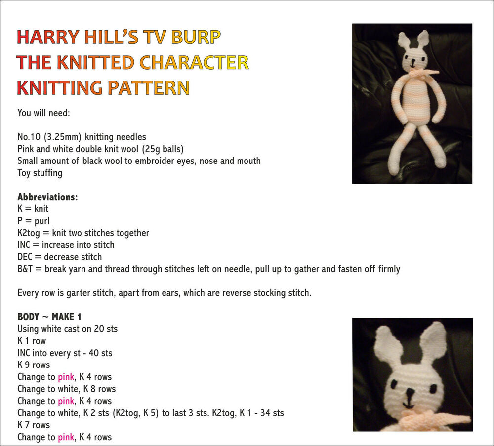 HARRY HILL KNITTED CHARACTER/ PG TIPS MONKEY KNITTING PATTERNS | eBay