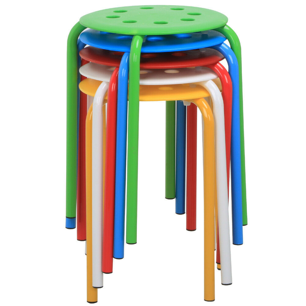 Commercial Furniture 5 Stackable Plastic Stool Set Round