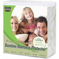 Kyпить Waterproof Bamboo Mattress Protector Fitted Mattress Cover Utopia Bedding на еВаy.соm
