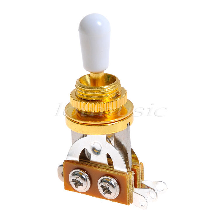 2 pcs 3 way guitar toggle switch for electric guitar parts gold with white cap 634458565400 ebay. Black Bedroom Furniture Sets. Home Design Ideas