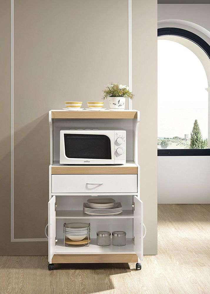 Hodedah Microwave Cart With One Drawer Two Doors And