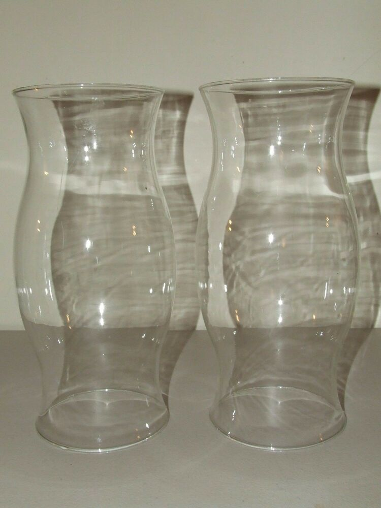 Antique Matching Pair Of Hand Blown Hurricane Candle Lamp