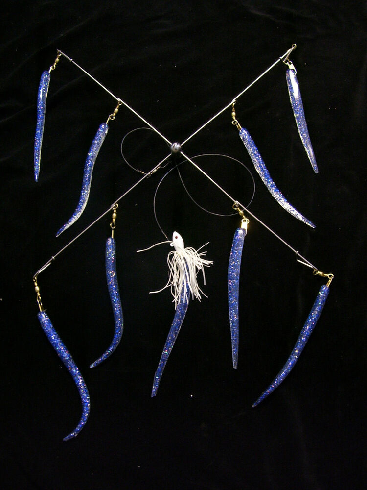 20 striper treat umbrella rig 9 cobalt blue snipers for Striper fishing rigs