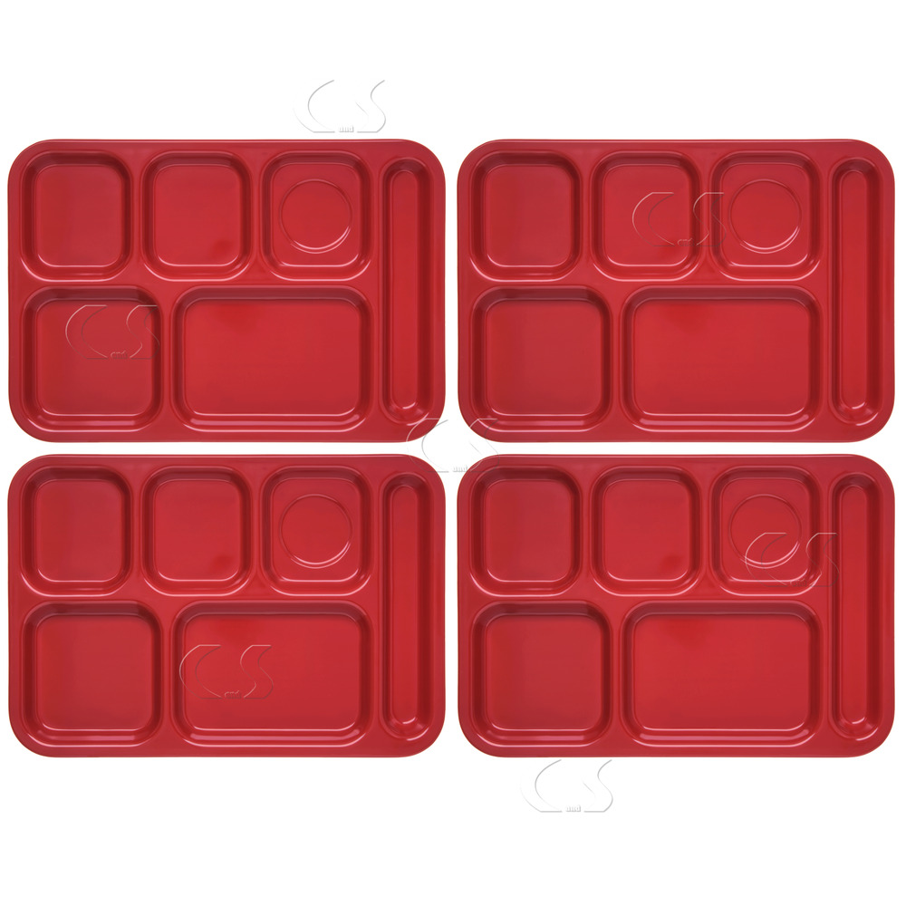 4x Cafeteria School Lunch Trays Red Heavy Duty Divided