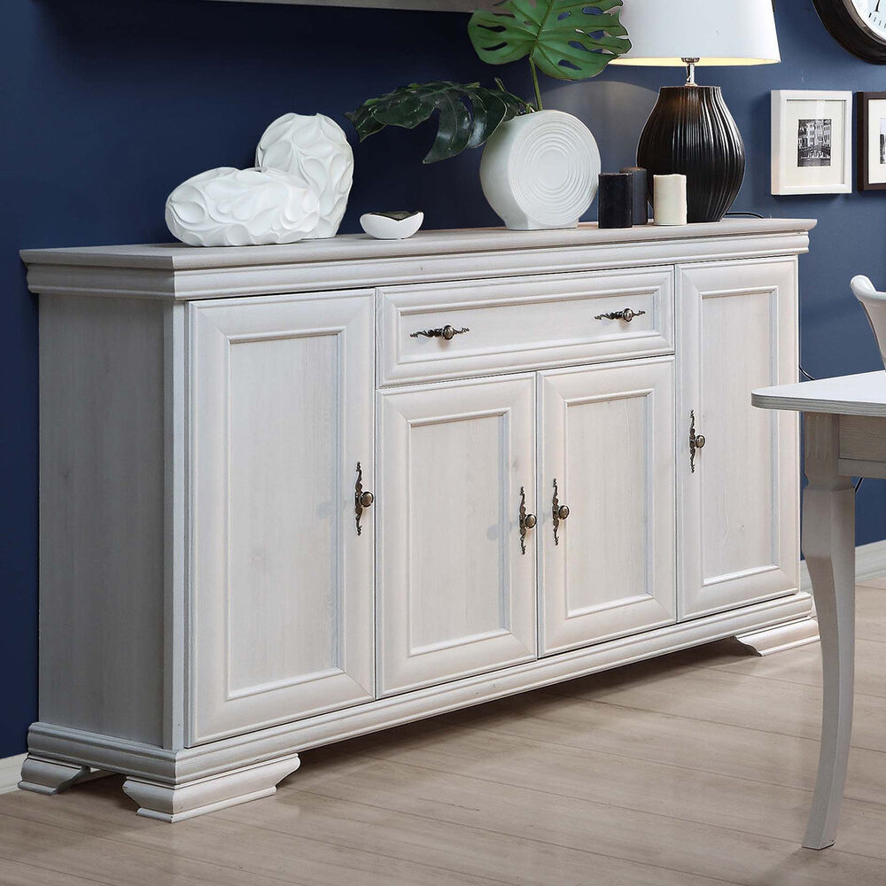 sideboard avinion anrichte in schnee eiche wei mit 4 t ren und 1 schubkasten ebay. Black Bedroom Furniture Sets. Home Design Ideas