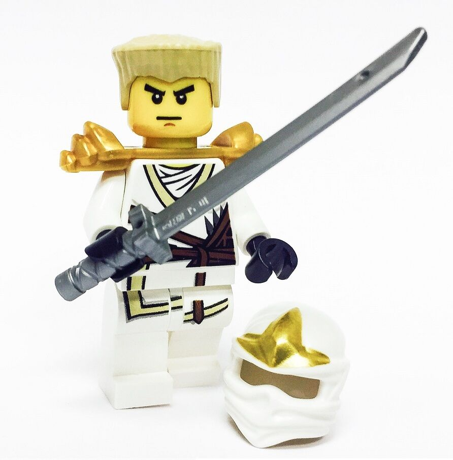 Lego ninjago minifigure zane zx gold armor katana white ninja with hair and hood ebay - Ninja ninjago ...