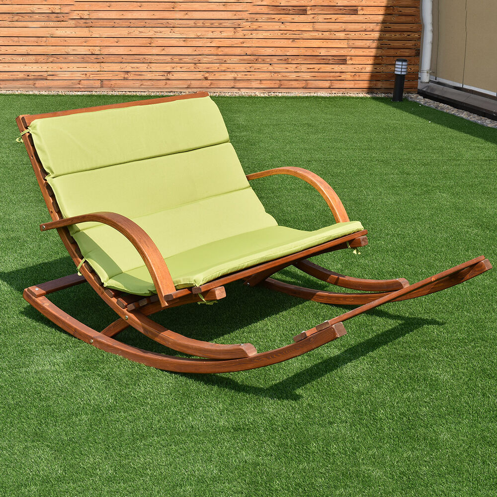 Patio Wood 2 Person Rocking Lounge Chair Wood Slat Porch