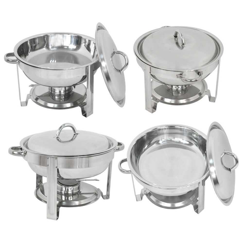 4 pack buffet catering stainless steel chafer round chafing dish 5qt party pack ebay. Black Bedroom Furniture Sets. Home Design Ideas