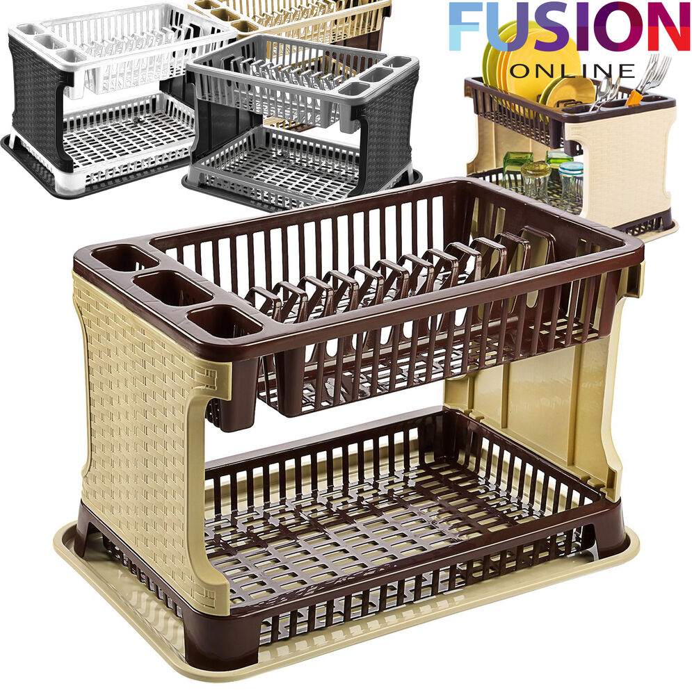 2 tier rattan modern dish drainer cutlery holder folding rattan plastic kitchen ebay. Black Bedroom Furniture Sets. Home Design Ideas