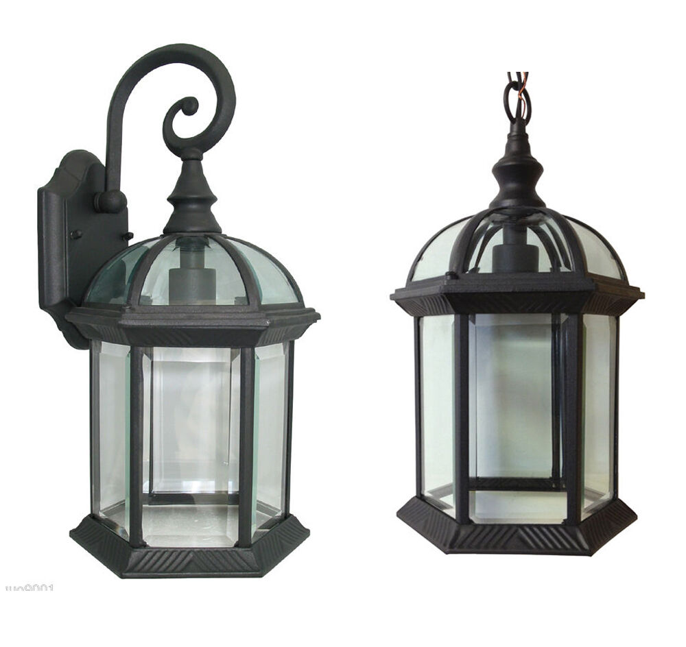Aluminum Outdoor Exterior Lantern Wall Lighting Fixture Black Sconce Hanging Ebay