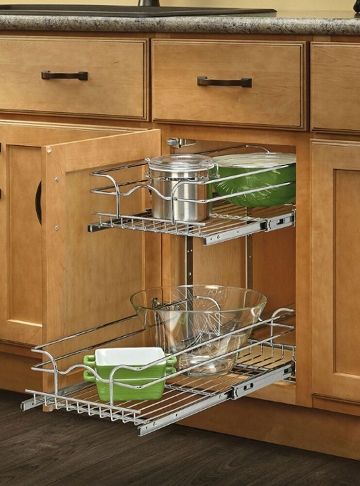 kitchen cabinet organizers pull out rev a shelf organizer pull out cabinet shelf basket metal 19215
