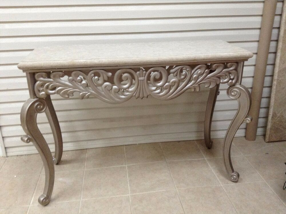 Foyer Table With Granite Top : Frontgate granite top console entryway sofa side table