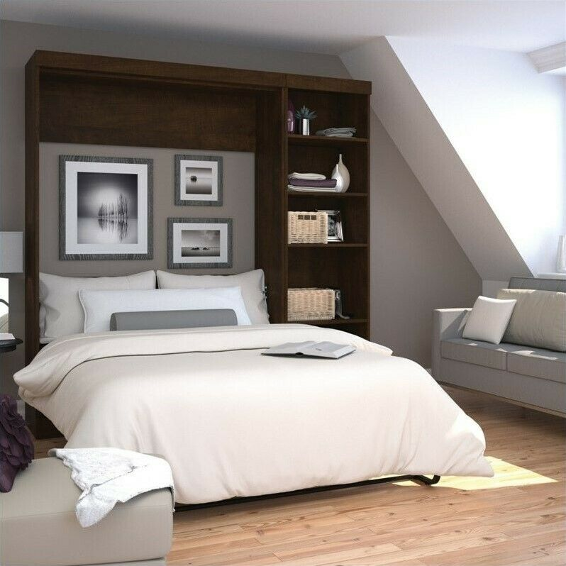 Bestar Pur 84 Quot Full Wall Bed With 5 Shelf Storage Unit In