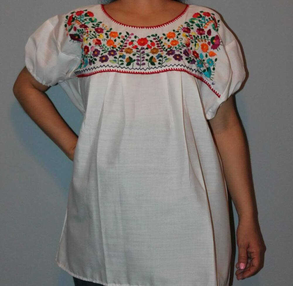 ELASTIC PEASANT PUEBLA HAND EMBROIDERED MEXICAN TUNIC ...