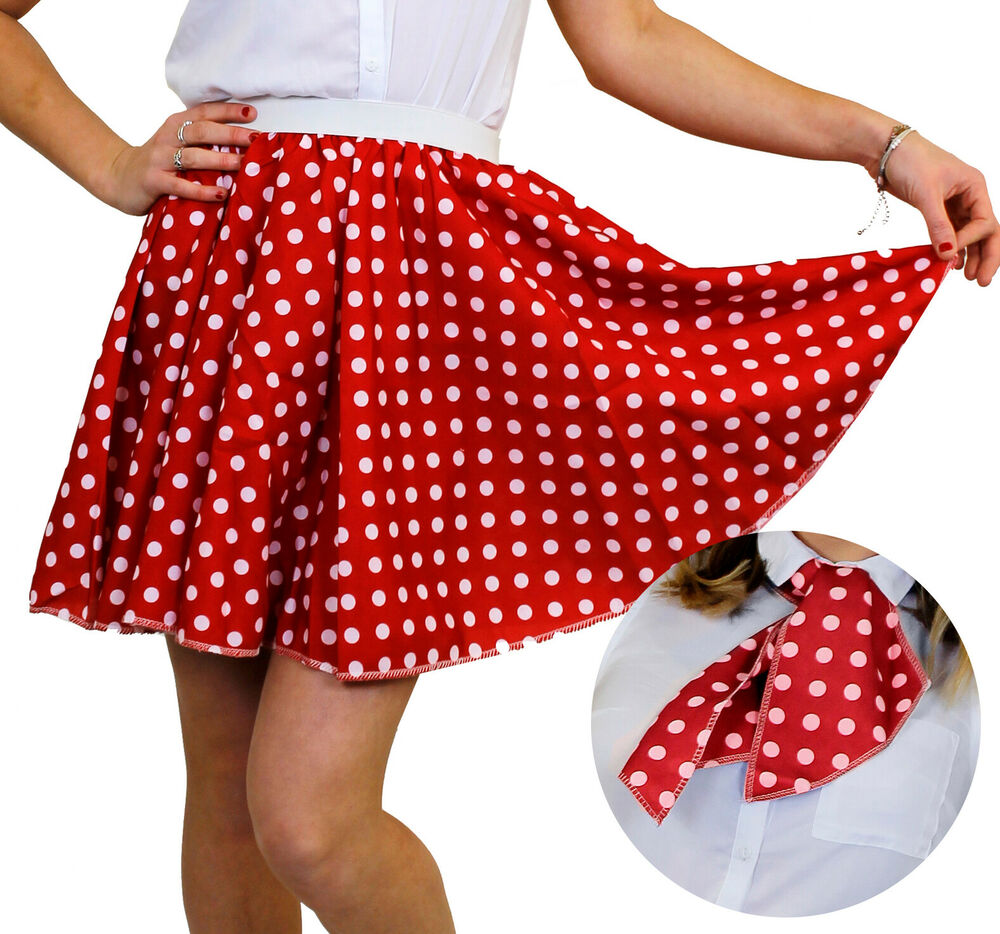 621e27b9362fd POLKA DOT SKIRT   SCARF RED WITH WHITE DOTS 50S ROCK N ROLL FANCY DRESS  COSTUME
