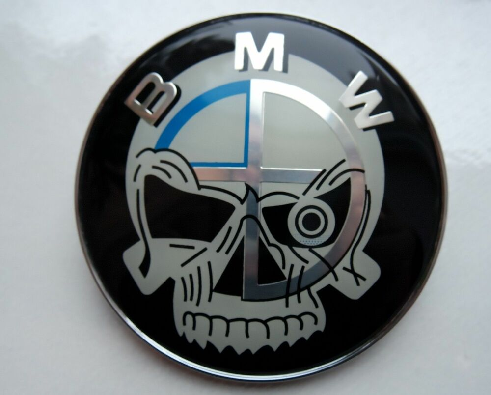 bmw skull logo front hood emblem 1x 82mm for e46 e60 e82. Black Bedroom Furniture Sets. Home Design Ideas