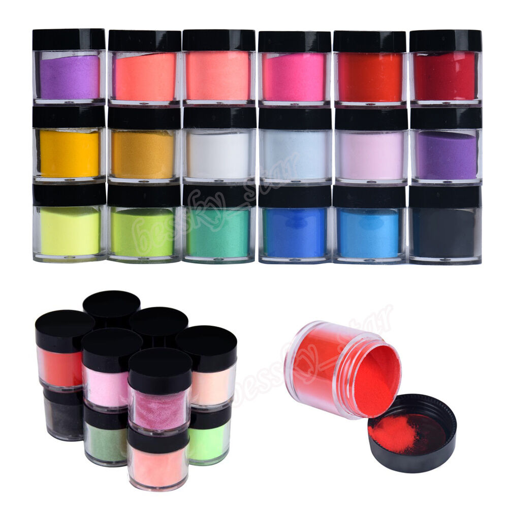 18 colors acrylic nail art tips uv gel powder dust design for Acrylic nail decoration