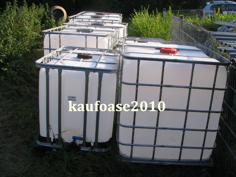 ibc container 1000l liter wassertank regenwassertank kunststoffpalette ebay. Black Bedroom Furniture Sets. Home Design Ideas