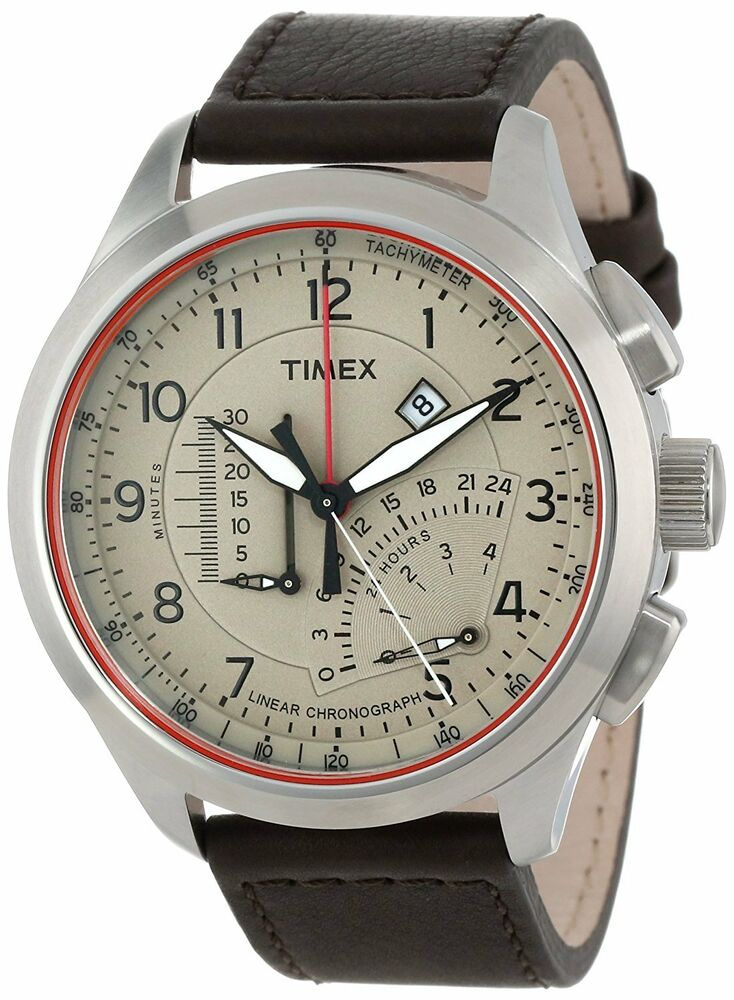 Timex adventure series leather chronograph mens watch t2p275 ebay for Adventure watches