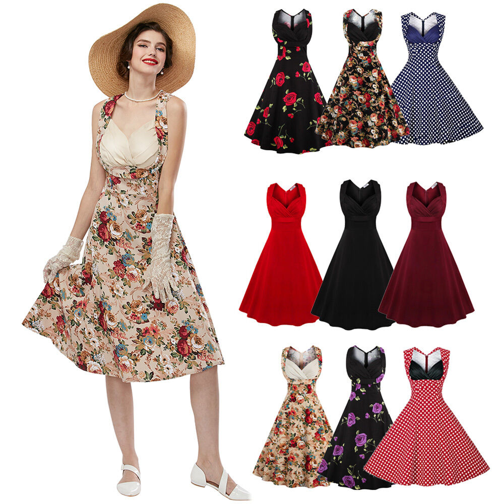 50'S 60'S ROCKABILLY DRESS Vintage Style Swing Pinup Retro