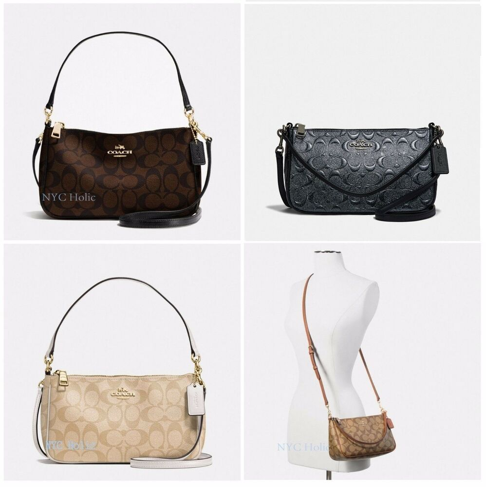 New Coach F58321 Top Handle Pouch Purse In Signature PVC ...