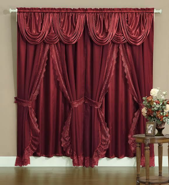 Sheer Lace Victorian Window Curtain Set Satin Valance