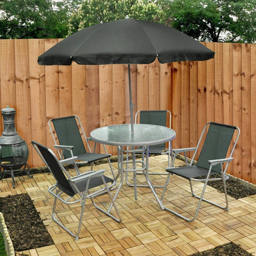 Garden Table And Chairs Set Of 4: Garden Patio Set 4 Seater Dining Set Parasol Glass Table