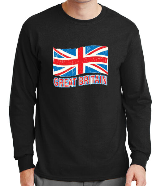 Great Britain Flag Men's Long Sleeve T-shirt Distress British Cool  - 1064C