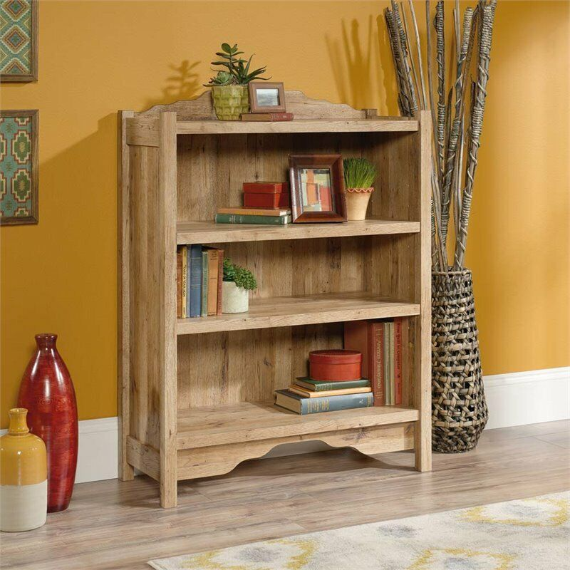 Sauder Viabella 3 Shelf Bookcase in Antigua Chestnut ...