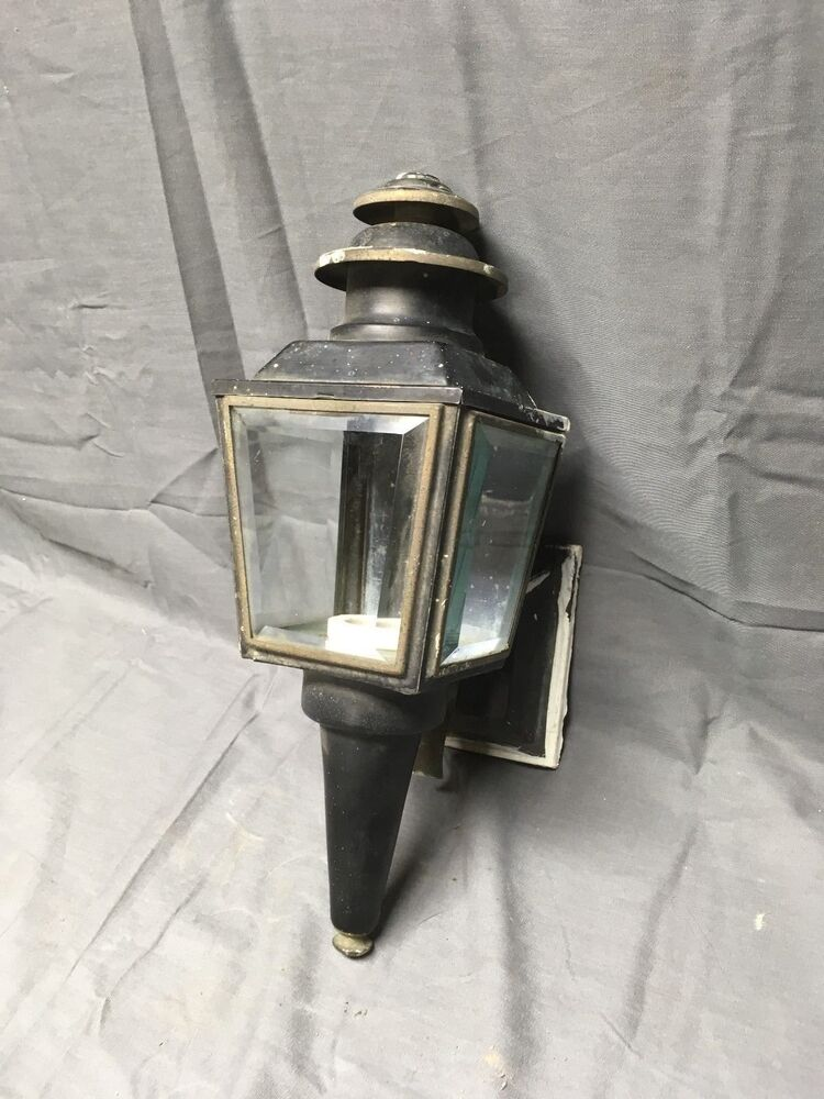 Vintage Copper Lantern Wall Sconce Light Fixture Beveled Glass Panels 204 17e Ebay
