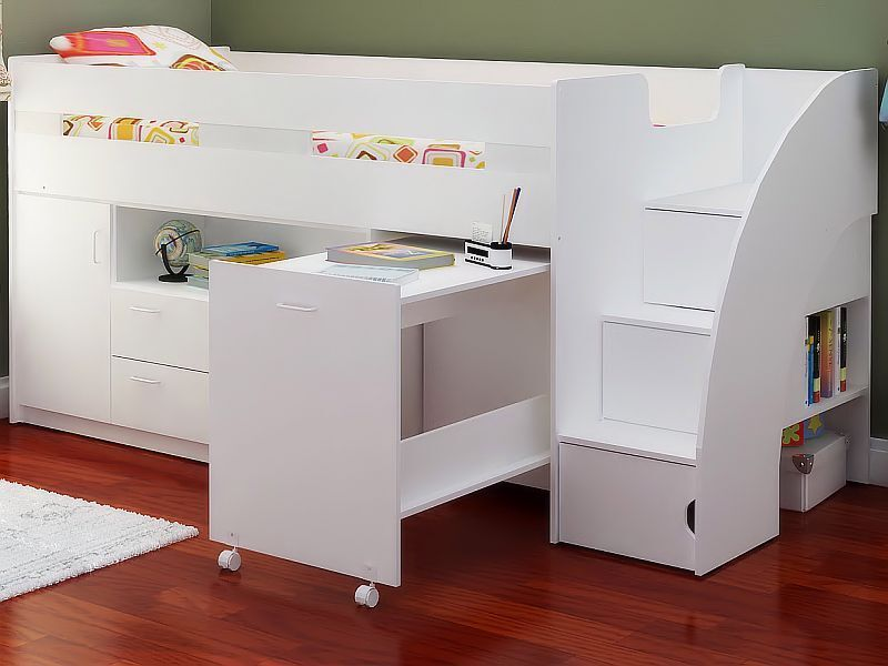 White Mid Sleeper Cabin Bed With Stairs Storage And Desk ...