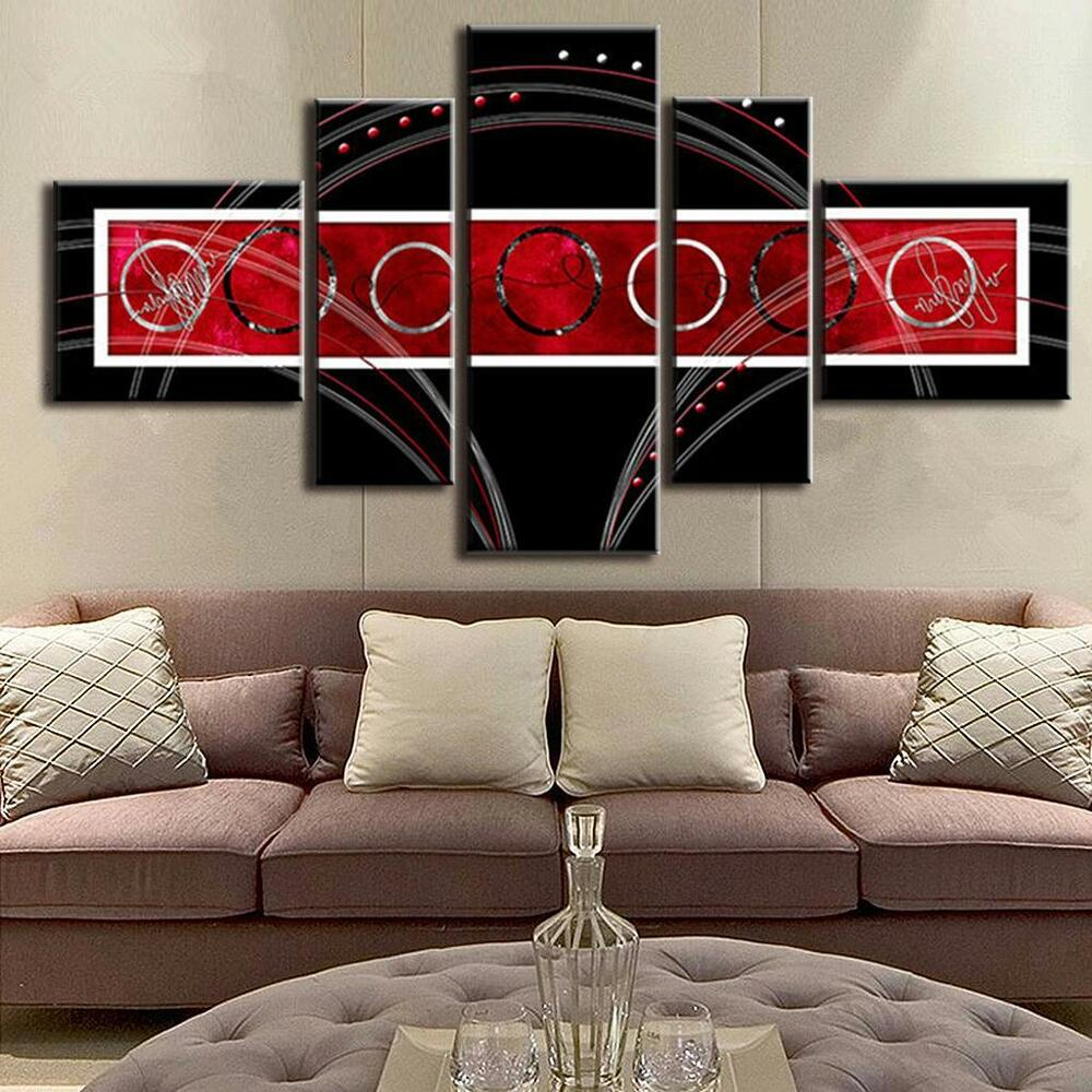 Abstract Wall Art Red Black Circle Modern Canvas Print ...