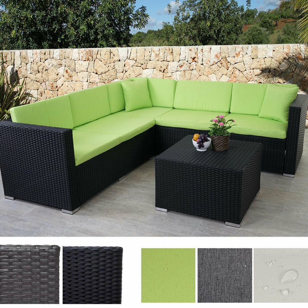 poly rattan sofa garnitur rom basic sitzgruppe lounge set alu stahl ebay. Black Bedroom Furniture Sets. Home Design Ideas