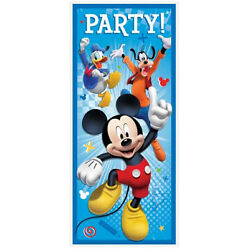 MICKEY MOUSE Roadster Racer Scene Setter BIRTHDAY party wall/door poster Disney