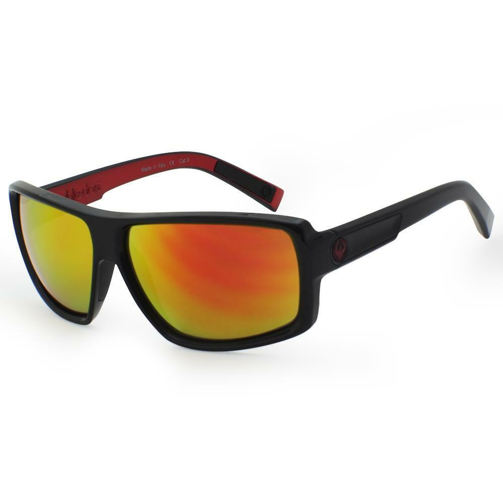 c0bf878175 Details about Dragon DOUBLE DOS Sunglasses - Jet Black with Red Ion lens  720-2194