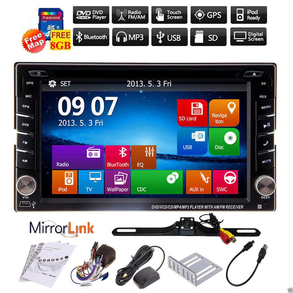 backup camera gps double din car stereo radio dvd mp3 player bluetooth with map ebay. Black Bedroom Furniture Sets. Home Design Ideas