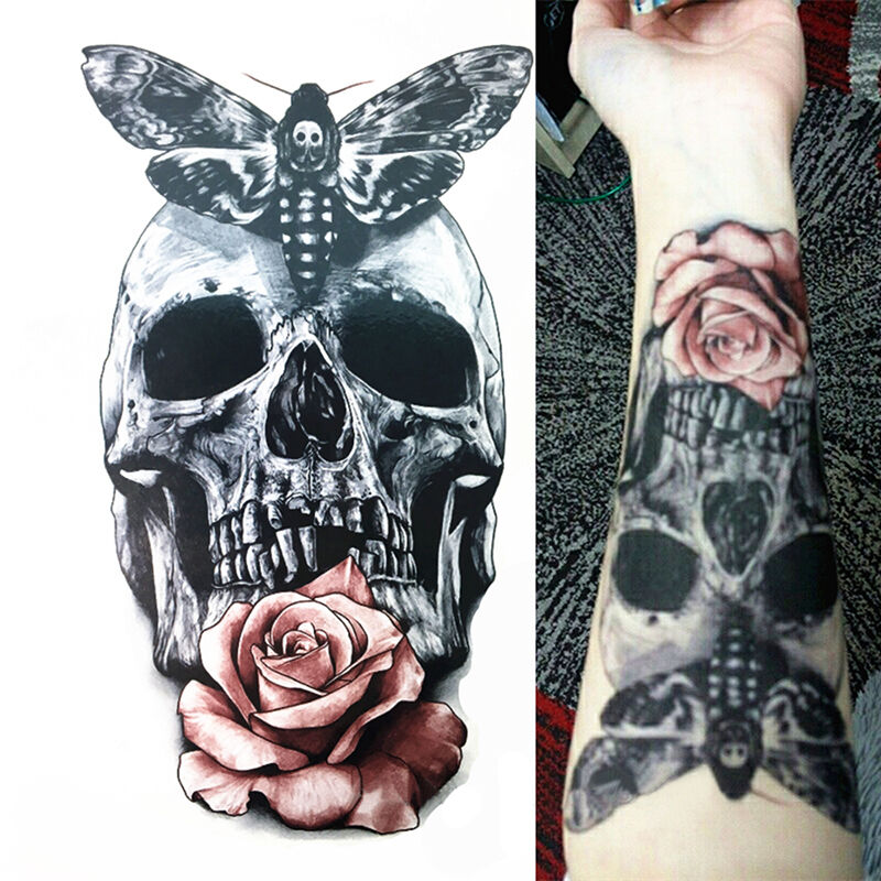 Body Art Pink Dangerous Skull Rose Tattoo Waterproof Temporary