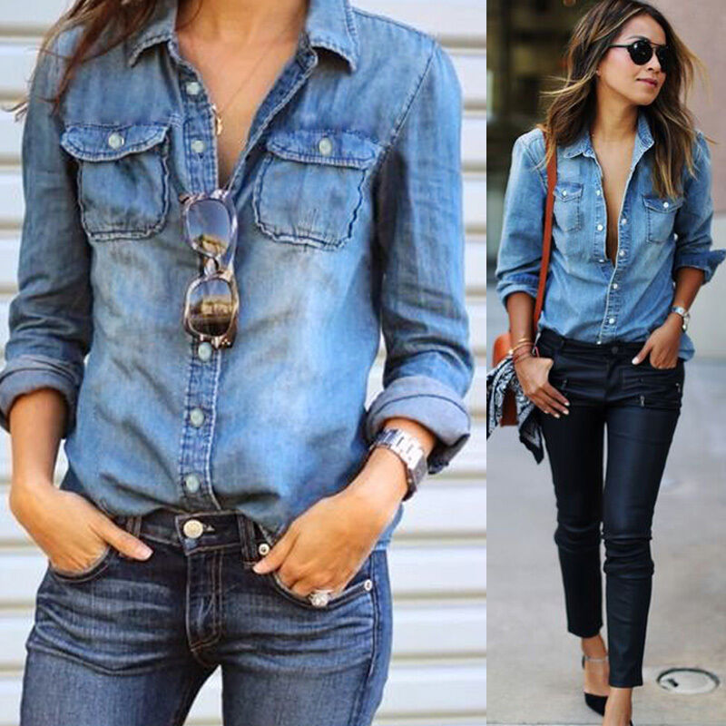 Fashion retro womens casual blue jean denim long sleeve for Blue denim shirt for womens
