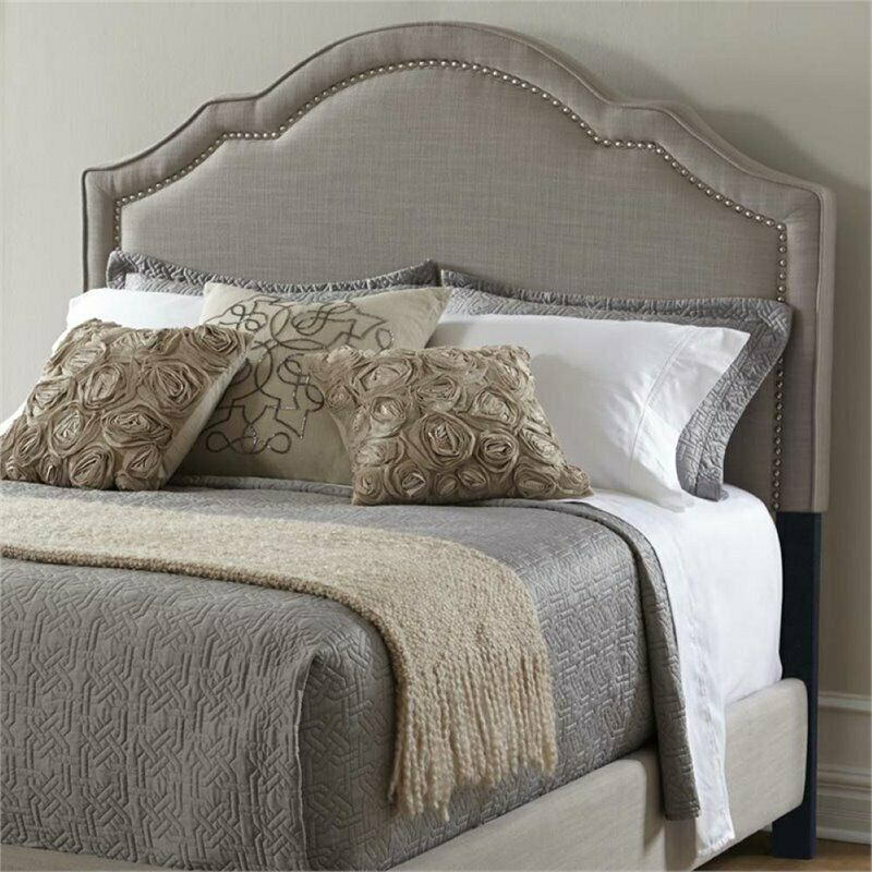 Pemberly Row Upholstered Queen Panel Headboard In Gray